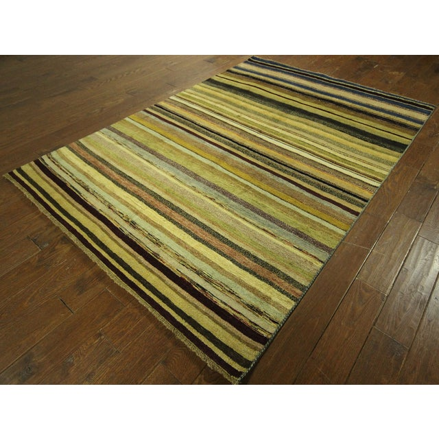 "Oushak Collection Striped Gabbeh Rug - 5'7"" x 8'1"" - Image 3 of 10"