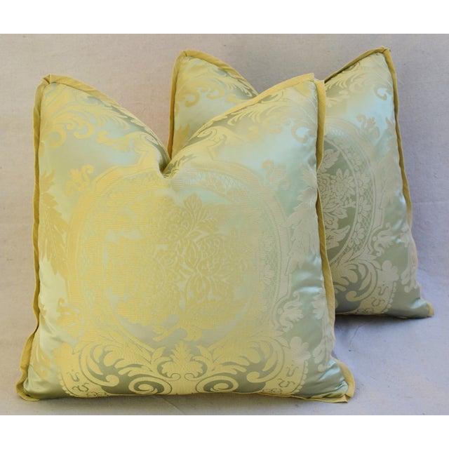 French Nobilis Palais Royal Silk Damask Pillows A Pair