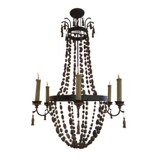 Antique 6 Light Iron and Wooden Bead Chandelier For Sale