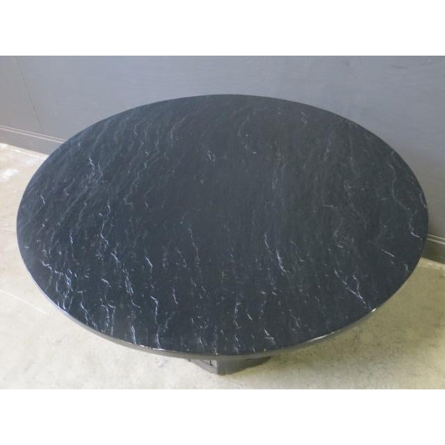 Mid Century Modern Faux Slate Dining Table With Leather Banding For Sale In New York - Image 6 of 13