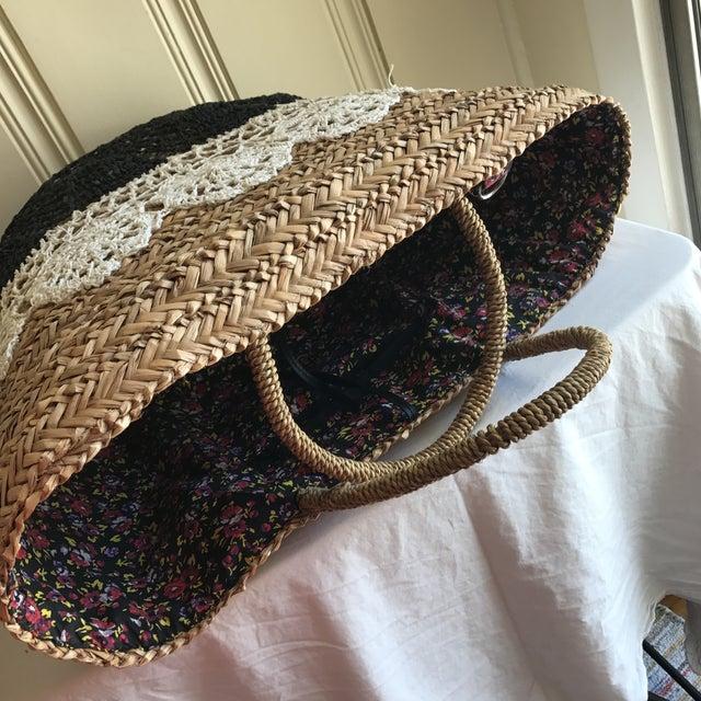 Large Boho Lined Jute Market Basket - Image 7 of 8