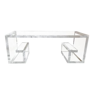 Modernism Greek Key Design Lucite Cocktail Table