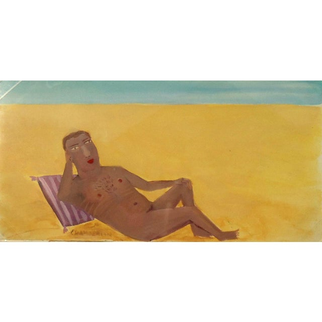 Reclining Male Nude at Beach by Ann Chamberlin - Image 3 of 4