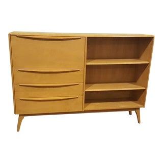 1950s Mid-Century Modern Heywood Wakefield Wheat Bookcase Secretary Desk For Sale