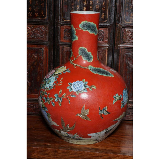 High End Vintage Kendi Style Hand Painted Porcelain Vase With Birds