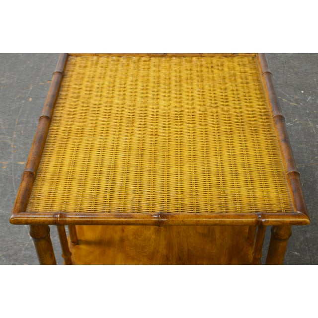 Faux Bamboo & Wicker Side Table by American of Martinsville For Sale - Image 9 of 13