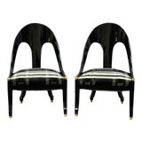 Image of 1960s Vintage Michael Taylor Baker Black Lacquer & Gold Spoon Back Slipper Lounge Chairs- A Pair For Sale