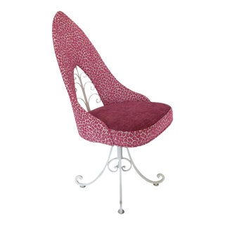 Mid Century Pink Animal Print Wrought Iron Swivel Side or Vanity Chair For Sale