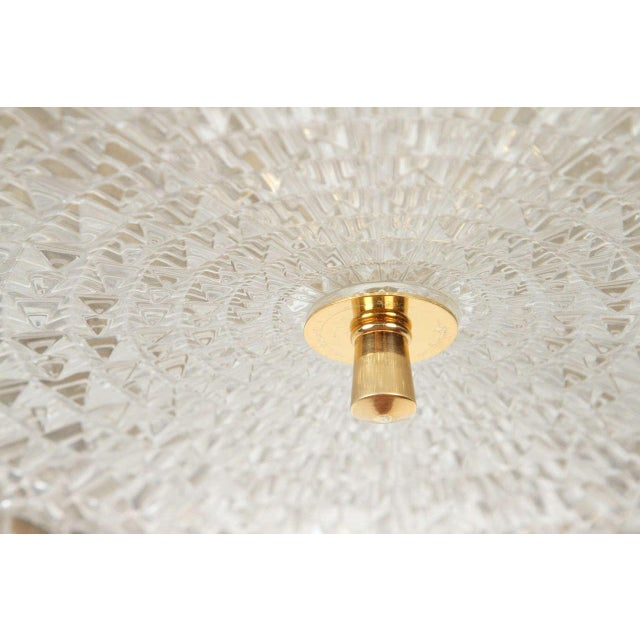 Metal Brass Orrefors Brass & Glass Ceiling Light Fixture For Sale - Image 7 of 9