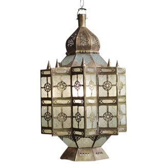 Moroccan Brass & Glass Lantern For Sale