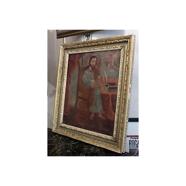 Medieval Scholar Antique Painting - Image 3 of 5