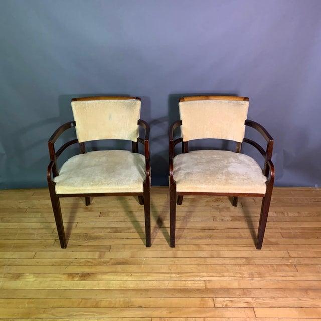 Pair 1930s German Art Deco Armchairs, Mahogany & Velvet For Sale - Image 4 of 12