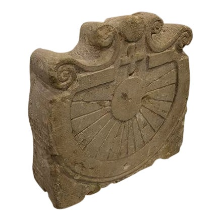 French Hand-Carved Sundial of Biancone Marble For Sale