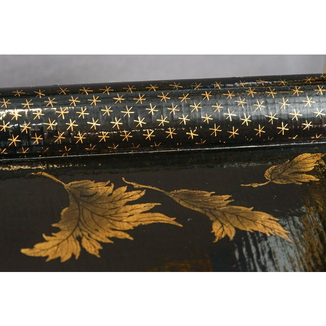 Asian Black Lacquer Wood Cocktail Table With Hand Painted Gold Florals For Sale In West Palm - Image 6 of 13