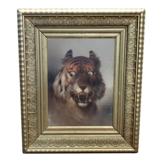 Late 19th Century American Victorian Wide-Eyed Tiger Framed Giclee on Board For Sale