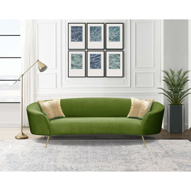 Pasargad Home Sorrento Collection Velvet Sofa, Green For Sale In New York - Image 6 of 8