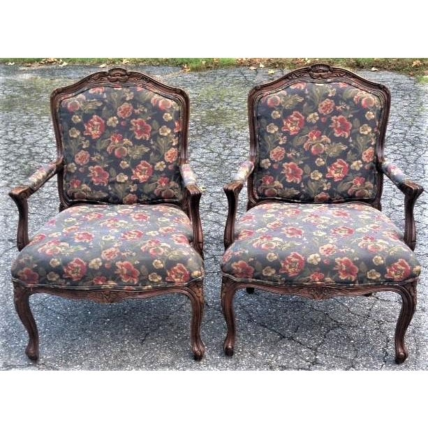 20th Century French Provincial Louis XV Style Armchairs - a Pair For Sale - Image 13 of 13