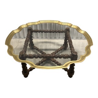 Vintage Baker Barley Twist Glass Top Brass Trim Scalloped Pie Crust Coffee Table For Sale