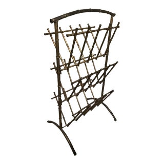 Chinoiserie Gilt Faux Bamboo 3 Tier Magazine Rack For Sale