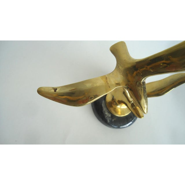 Brass Modernist Seagull Sculptures on Marble Bases - a Pair For Sale - Image 4 of 5