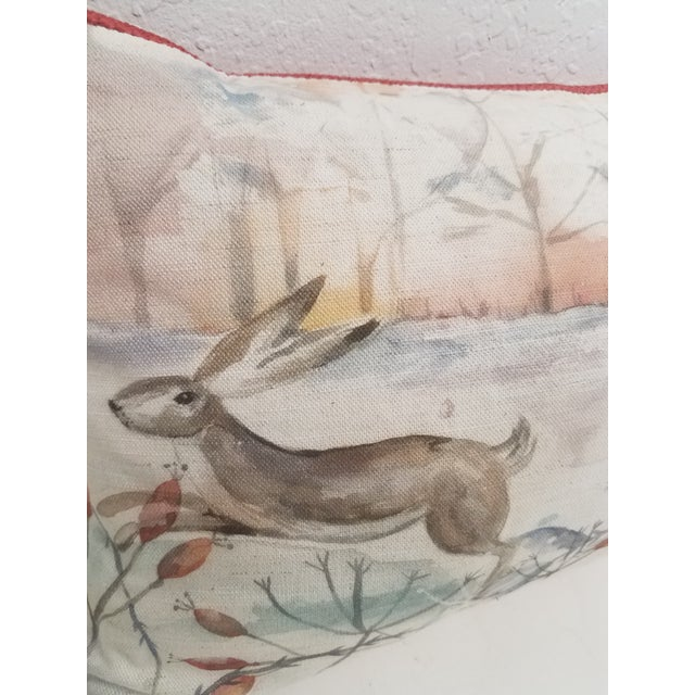 Two Rabbits in Winter Bolster Pillow - Made in Wales, United Kingdom For Sale - Image 4 of 11