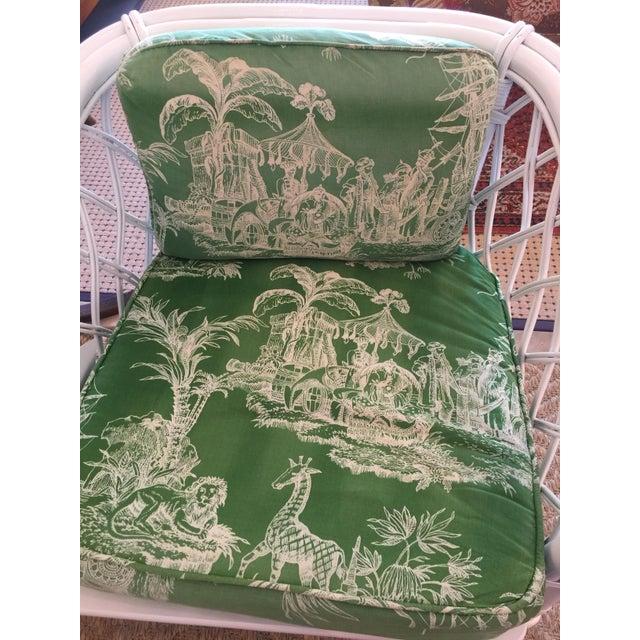 Ficks Reed Vintage Schumacher Fabric Trellis Barrel Chair For Sale - Image 5 of 6