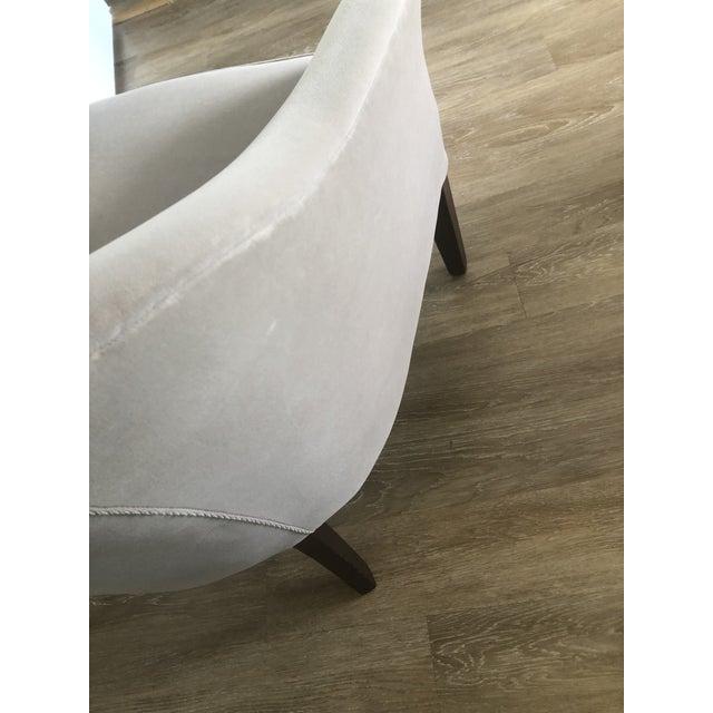 Custom Made Gray Velvet Deco Barrel Chair For Sale - Image 4 of 7