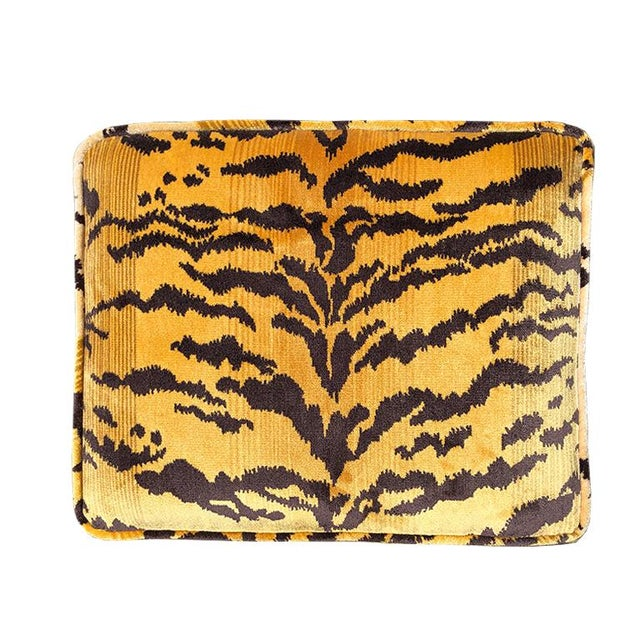 Tiger print Billy Baldwin animalia x bench stool with velvet fabric in the style of Scalamandre. The bench is covered in...