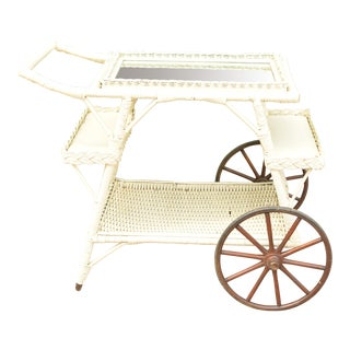 Vintage Wicker Tea Cart, Mirrored Tray Top, Removable Tray