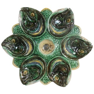 19th Century Victorian Majolica Palissy Fish Heads Oyster Plate For Sale