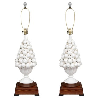 Porcelain Blanc De Chine Lemon Cluster Urn as Table Lamps - a Pair For Sale