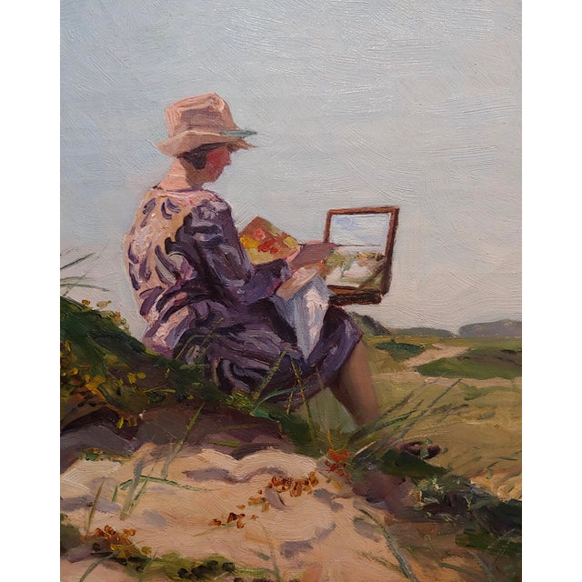 1900 - 1909 Henri Vos -Two Artists on the Dunes -Impressionist -Oil Painting C1910s For Sale - Image 5 of 9