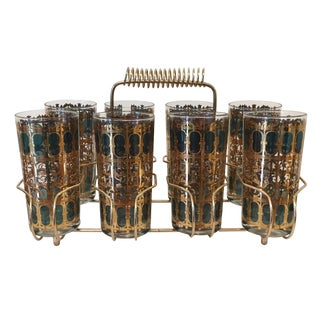 Culver 'Emerald Scroll' Caddy Set With Highball Glasses - 9 Pc. Set