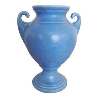 Matte Blue Glazed Pottery Urn Vase