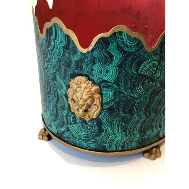 Metal Regency Style Faux Malachite Tole Planter Box - Vintage For Sale - Image 7 of 13