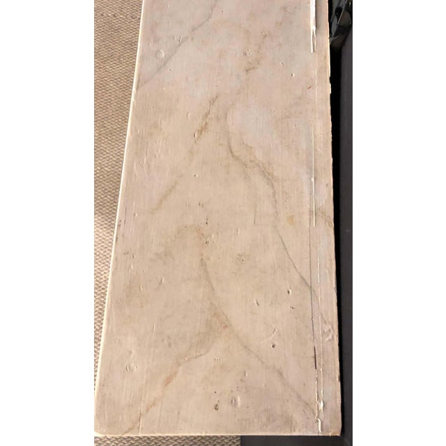 Beige Swedish Painted and Distressed Decorated Fire Surround in Faux Marble Finish For Sale - Image 8 of 13