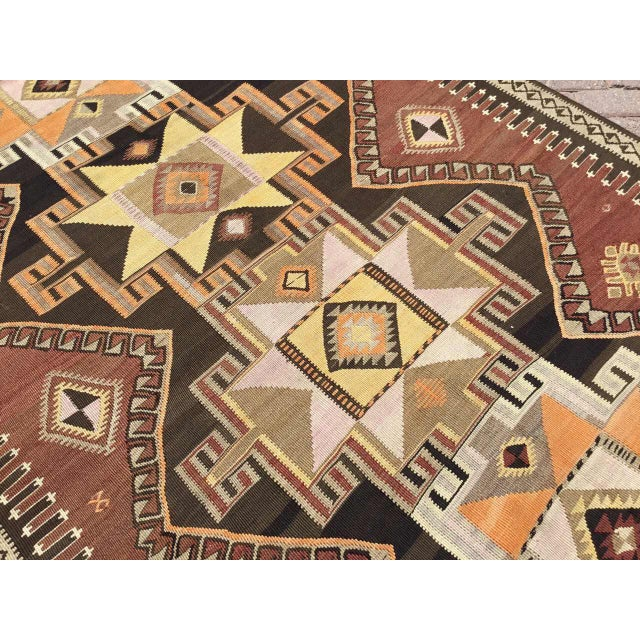 1960s Large Brown Turkish Kilim Runner For Sale - Image 5 of 11