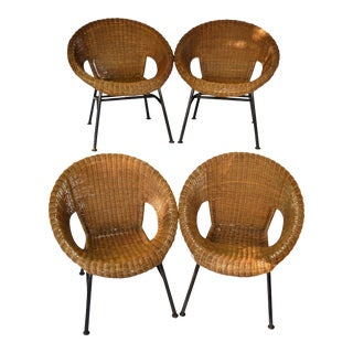 Mid-Century Wicker Hoop Chairs - Set of 4