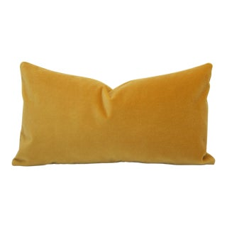 Saffron Yellow Velvet Lumbar Pillow Cover For Sale