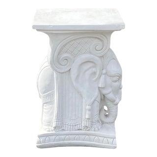 Vintage Plaster Elephant Garden Seat For Sale