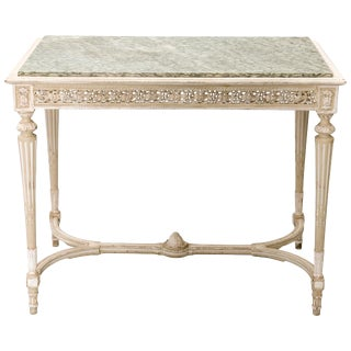 Painted French 19c. Console/Center Table With Marble Top For Sale