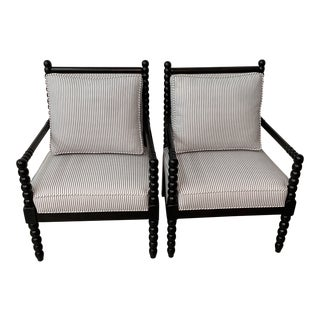 Black and White Bobbin Chairs - a Pair For Sale
