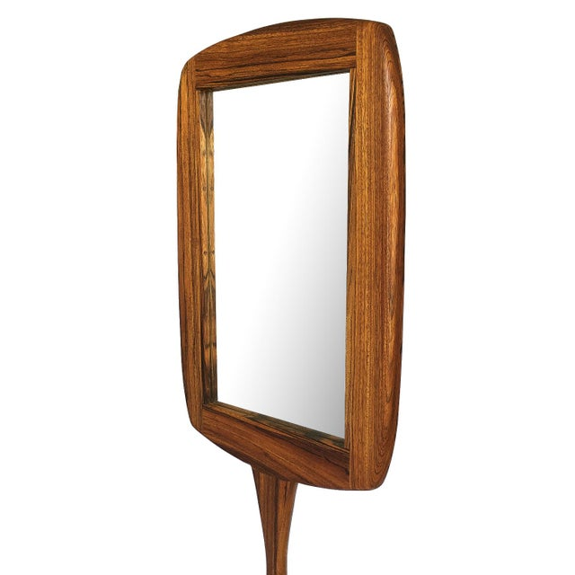 Brown Studio Craft Movement Carved Zebrawood Standing Floor Mirror For Sale - Image 8 of 13