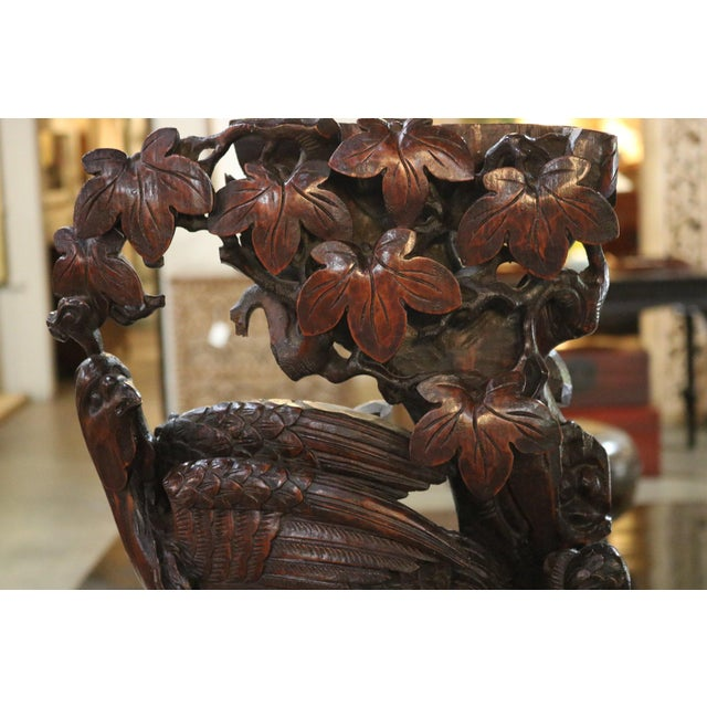 Asian Carved Wooden Pheasant With Ebonized Mahogany Base For Sale - Image 3 of 5