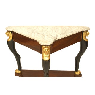 A Fine French Empire Triangular Console Table With Gilt Lion Heads For Sale