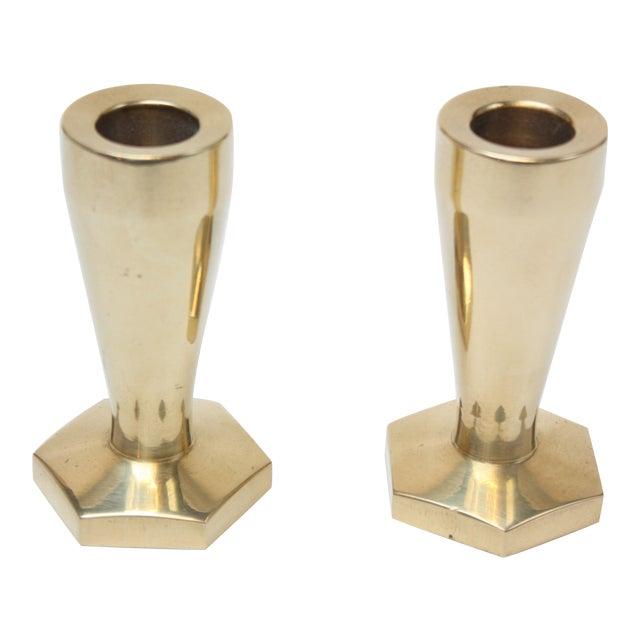 Solid Brass Hexagonal Candlesticks - A Pair For Sale