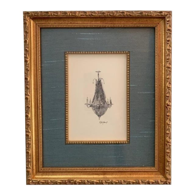 Elle Yount French Chandelier #2 Original Drawing For Sale
