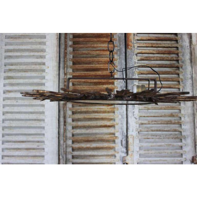 Spanish Gilt Metal Sunburst Flush Mount Ceiling Fixture - Image 7 of 8