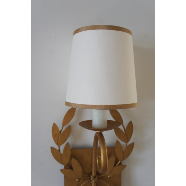 Julie Neill Gilt Metal Wreath Sconce For Sale - Image 9 of 11