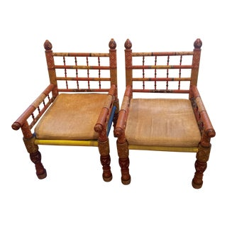 Late 19th Century Vintage Punjabi Chairs- a Pair For Sale
